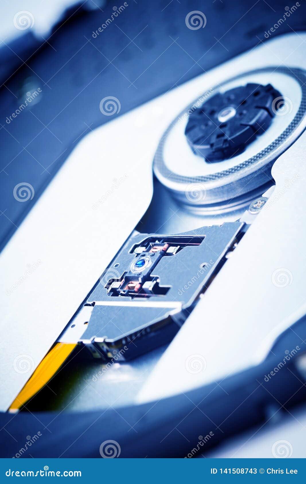Feche acima - da lente da cabeça do laser da unidade ótica do dvdrw do dvd do CD
