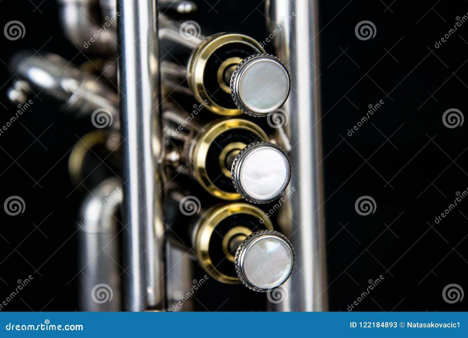 Feche acima da trombeta silverplated