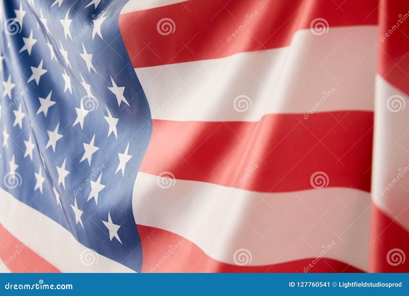 Feche acima da vista da bandeira de Estados Unidos da América