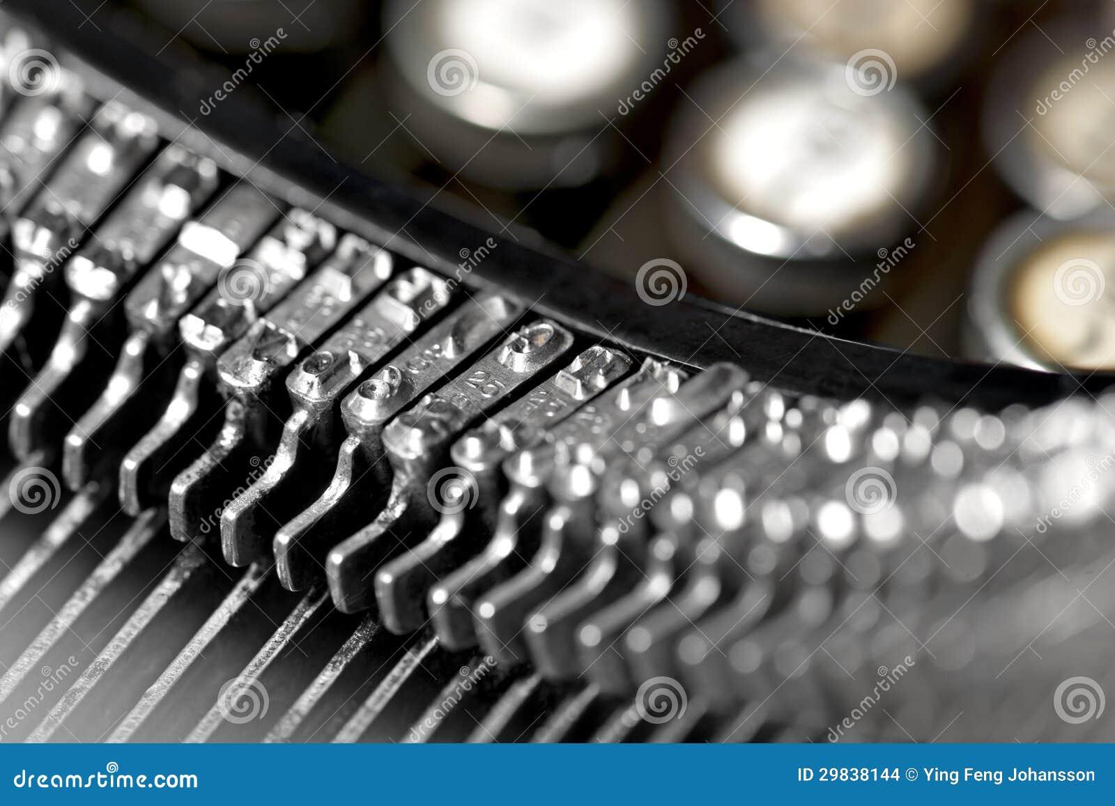Letras no typevriter do vintage