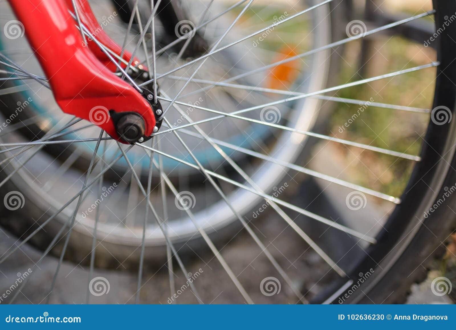 Feche acima das rodas de bicicleta