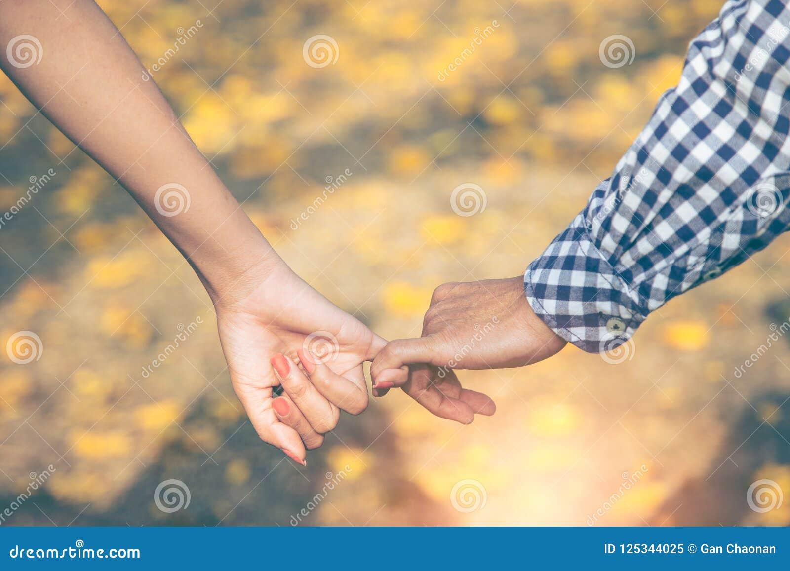 Feche acima de dois amantes que juntam-se às mãos A silhueta do detalhe da terra arrendada do homem e da mulher cede as flores am