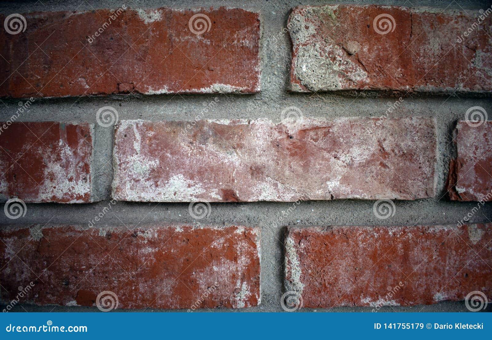 Feche acima de uma parede de tijolo, diferença larga entre tijolos