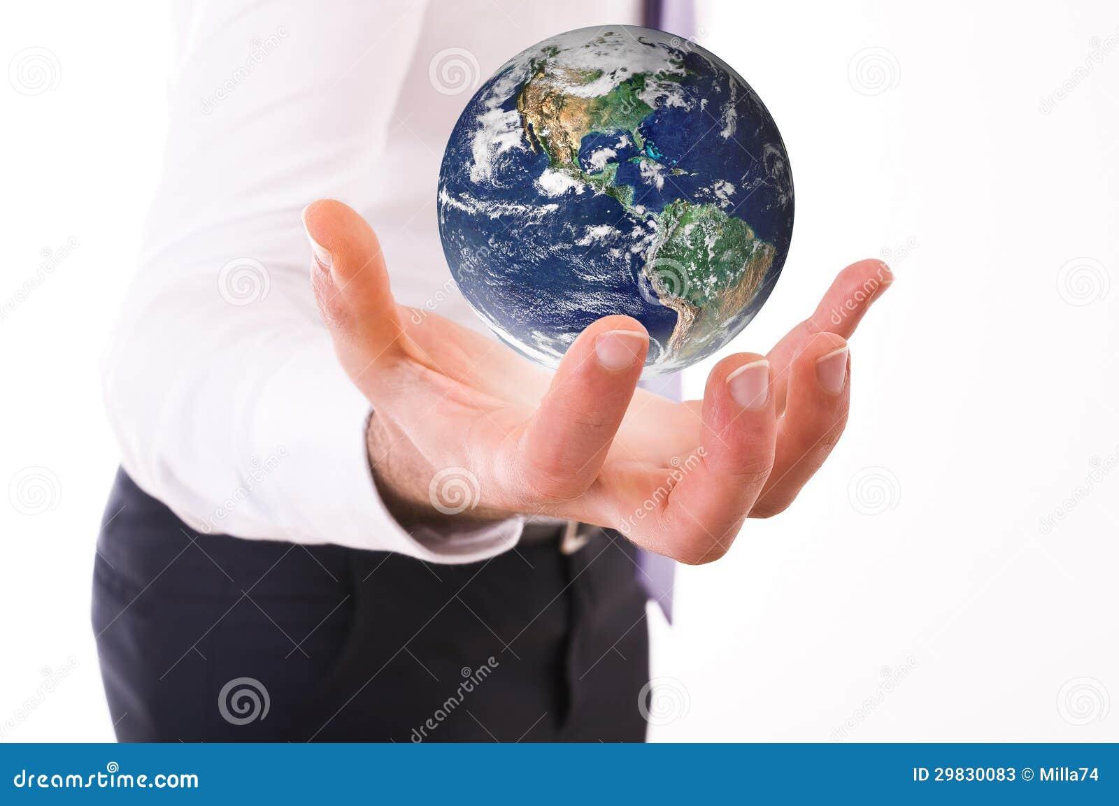 Terra levando do homem de negócio.