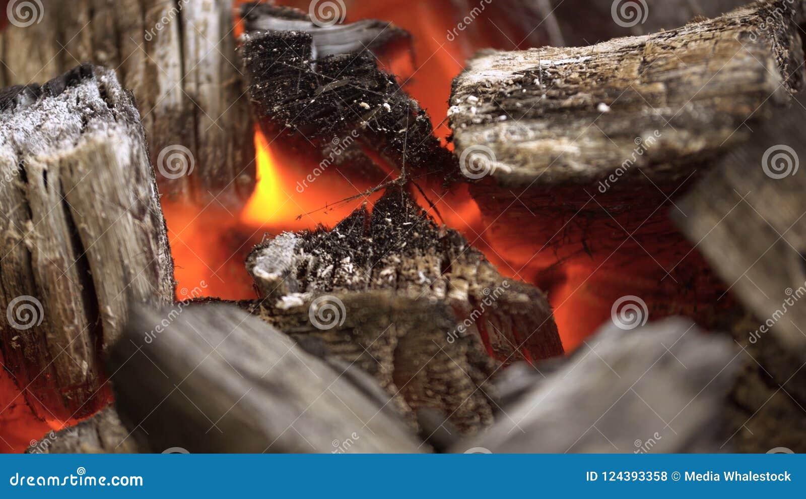 Feche acima do BBQ do carvão vegetal que chameja e que incandesce Carvão vegetal ardente para o close-up da grade