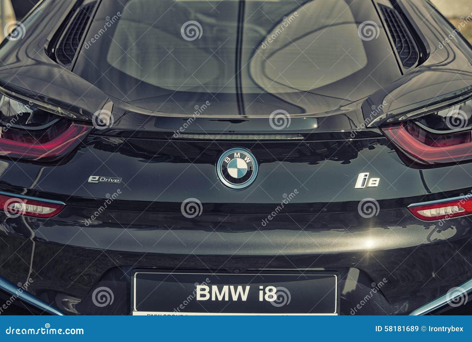 Feche Acima Do Carro Desportivo Hibrido De Encaixe De Bmw I8 Imagem