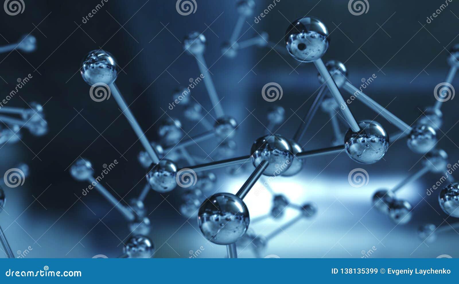 Feche acima do modelo de estrutura molecular ilustração 3D