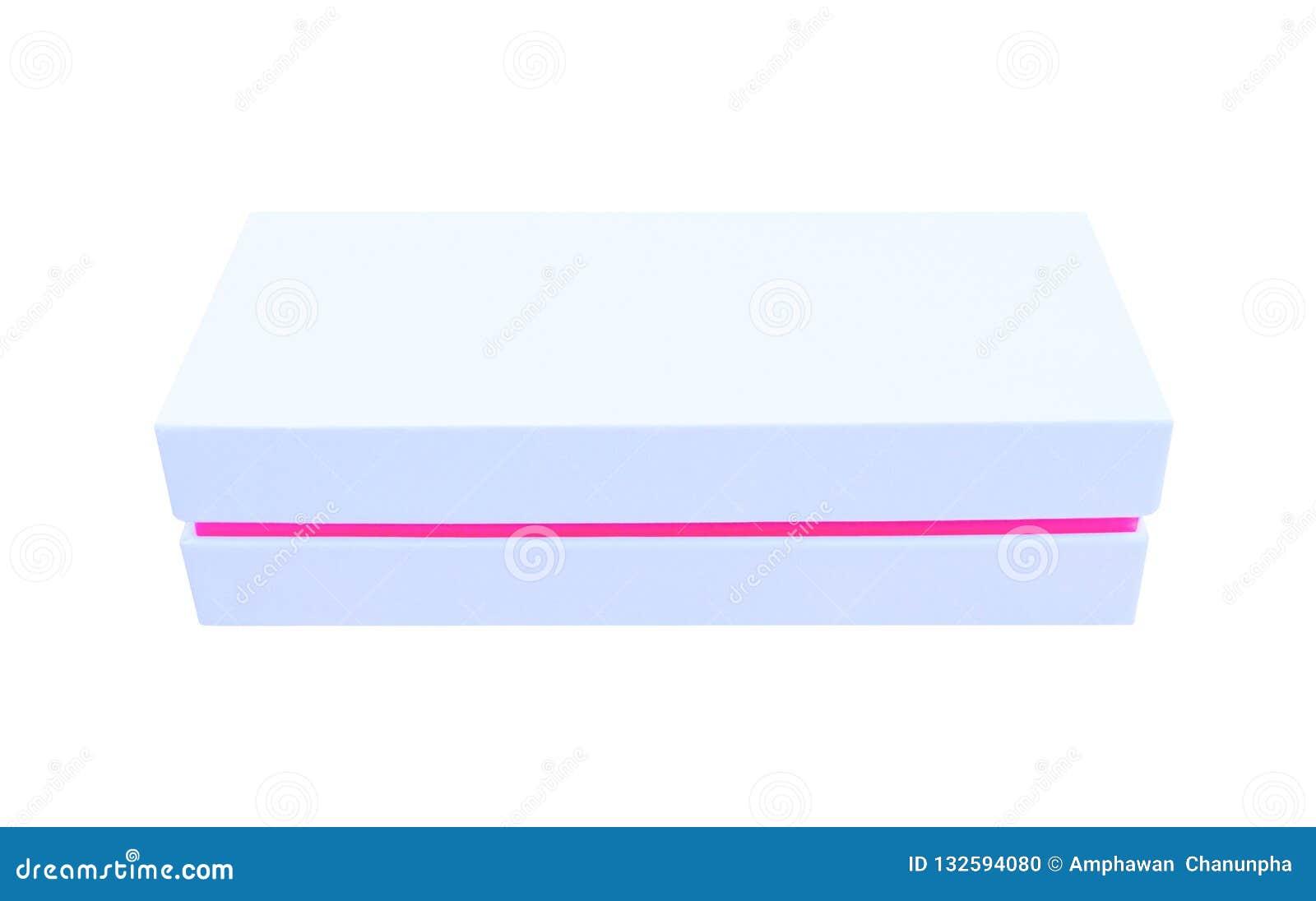 Feche acima do molde vazio branco ou cinzento da caixa com linha testes padrões da beira do rosa isolados no fundo branco, horizo