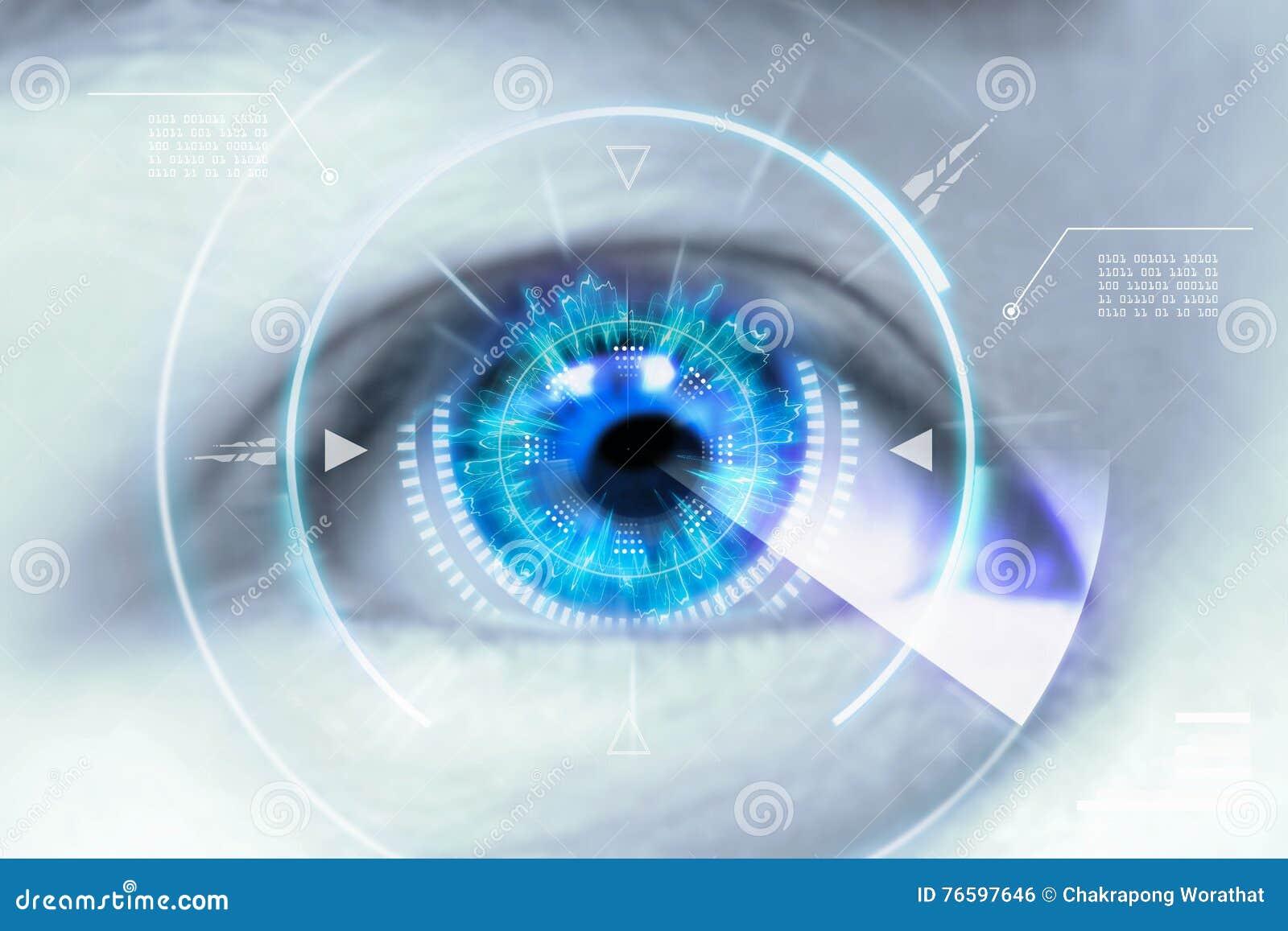 Feche acima dos olhos das tecnologias no futurista : lente de contato
