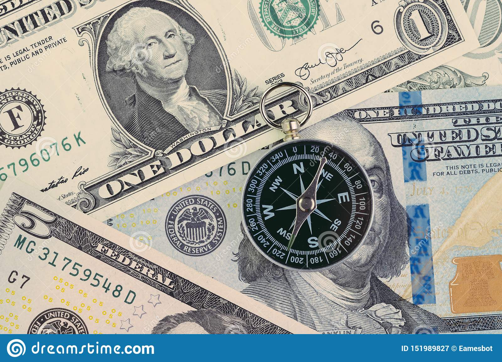 FED, Federal Reserve of US government direction on interest rate concept, compass on US Dollar banknote with Feral Reserve emblem