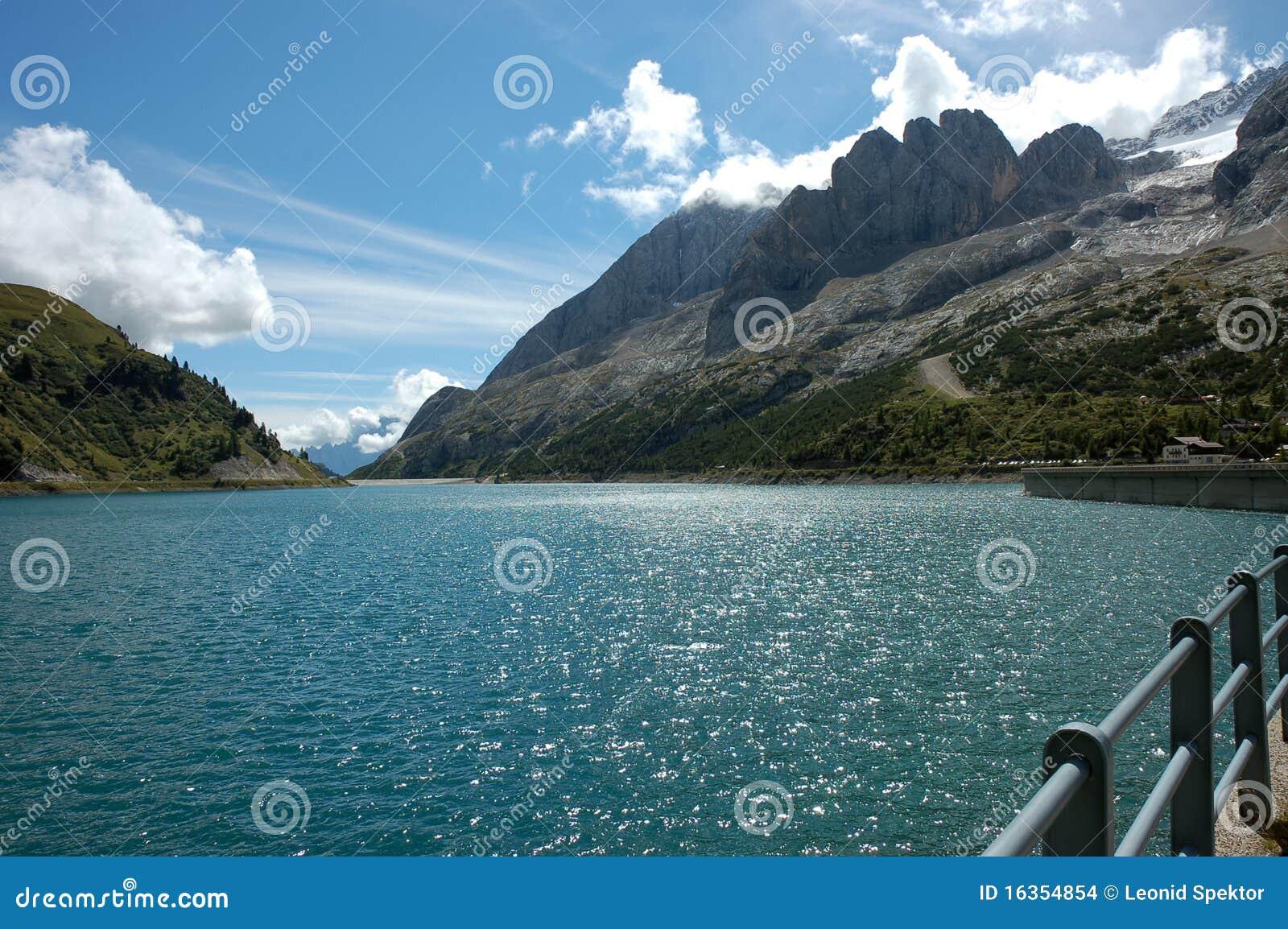 Fedaia Lake, Italian Dolomites.