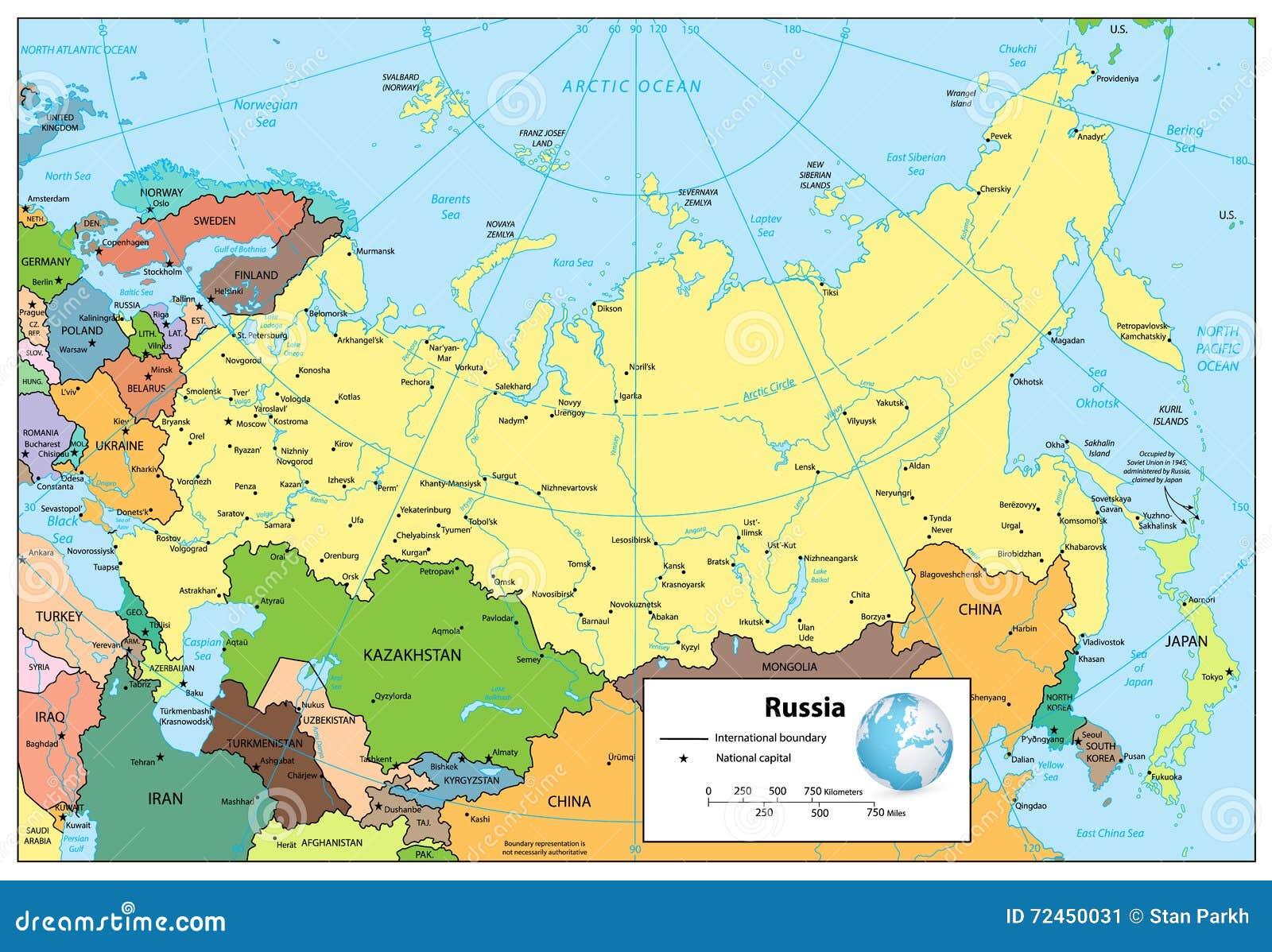 Mapa Polityczny Rosja Mapa Scaling Illustration Narodowy