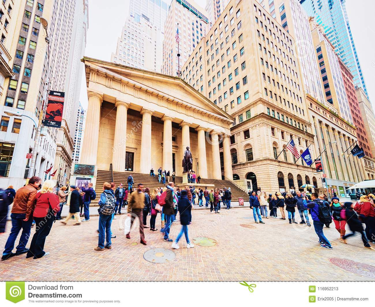 Federacyjny Hall w Wall Street w lower manhattan
