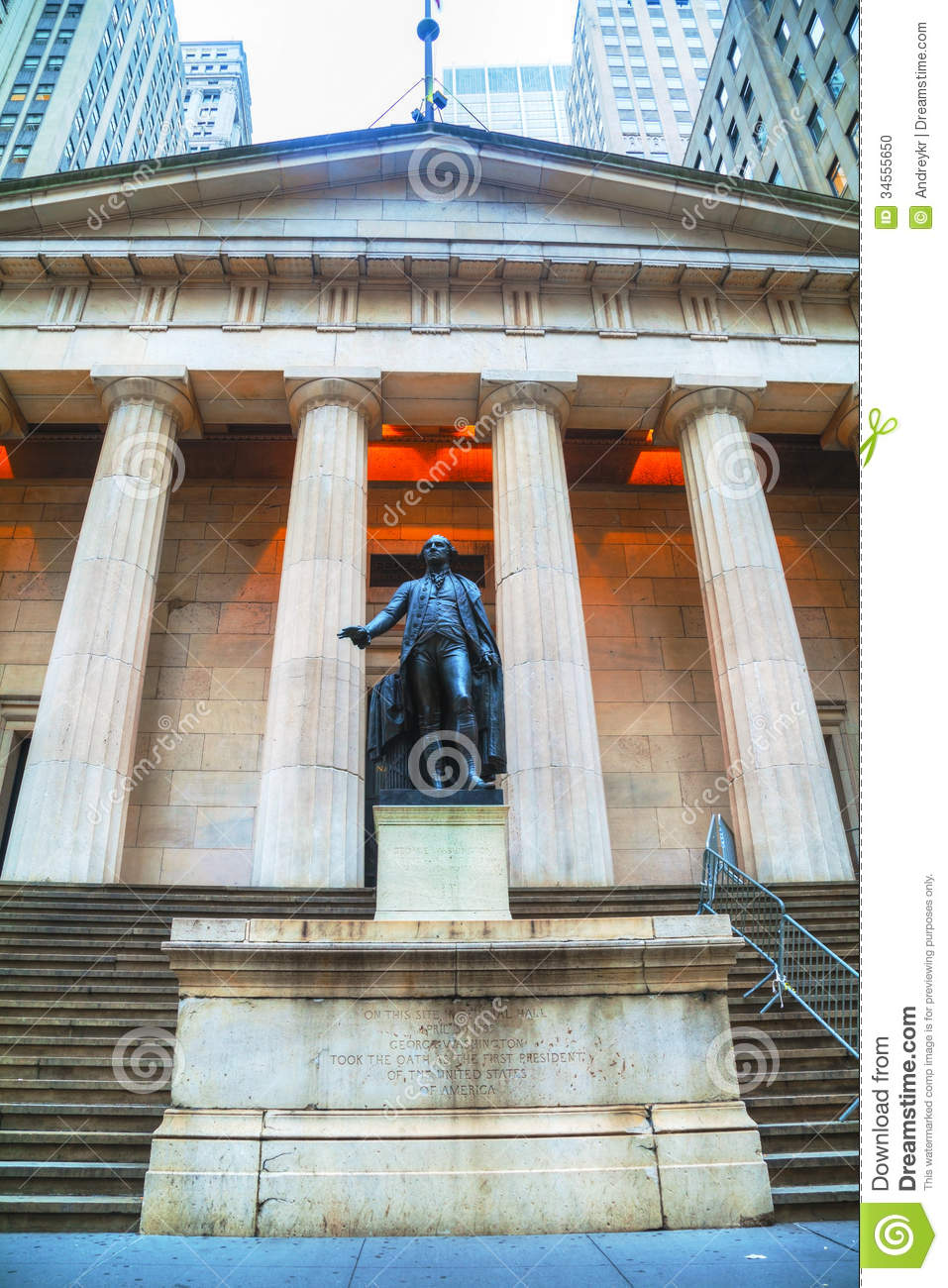 Federal Hall National Memorial At Wall Street In New York ...