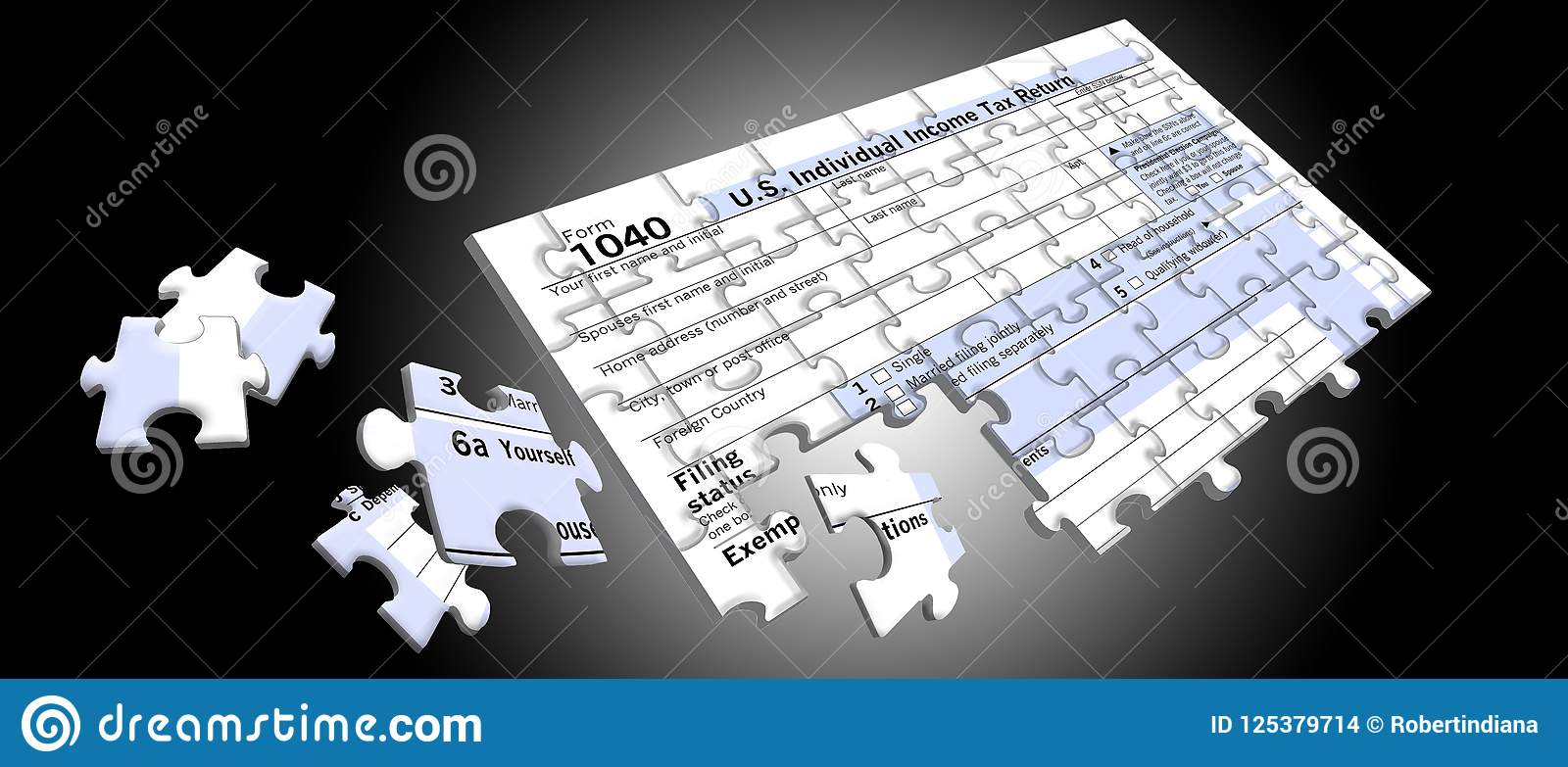 Federal Income Tax Form 8 That Is A Jigsaw Puzzle Stock ...