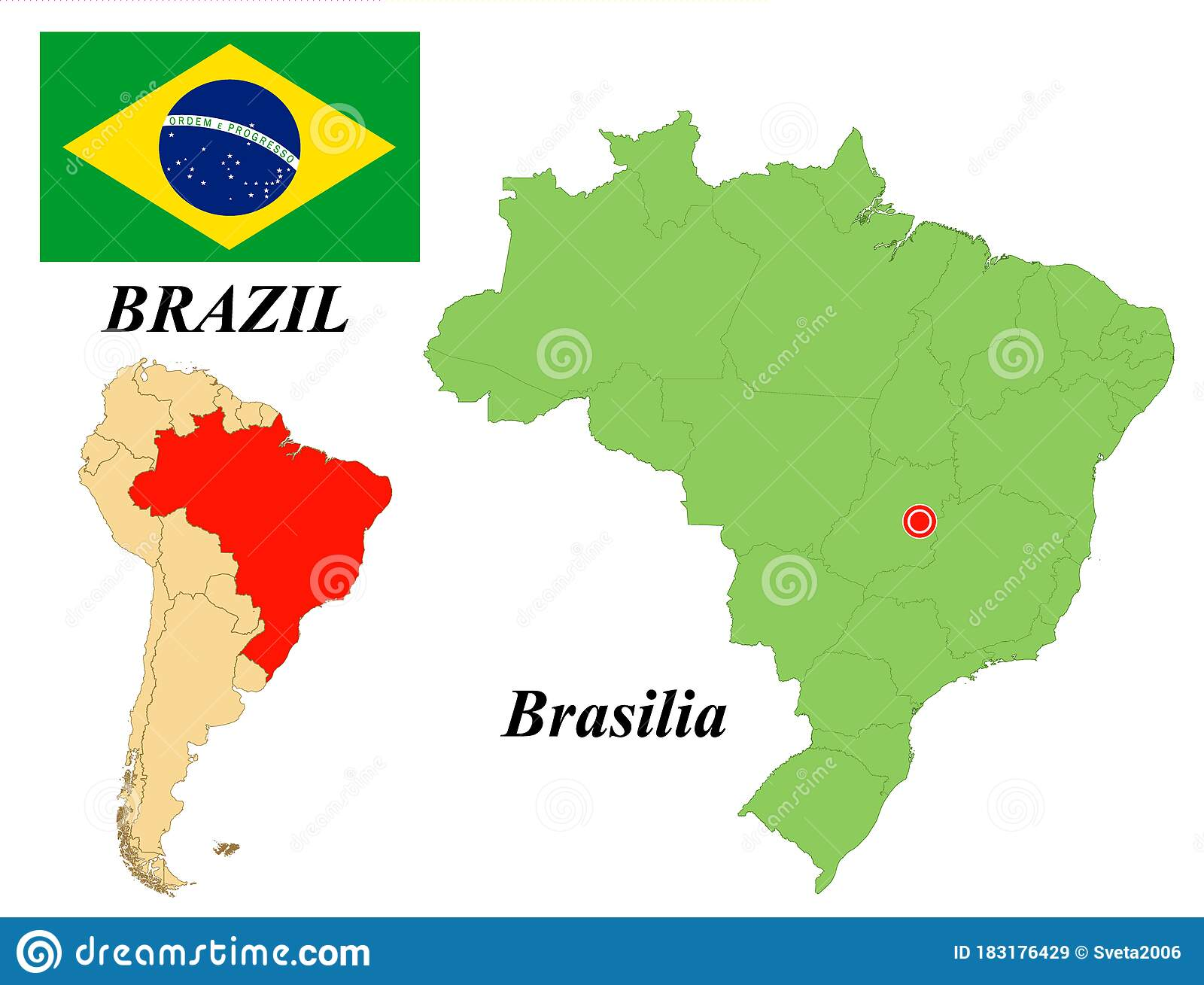Picture of: Flag Map Capital Of Brazil Stock Vector Illustration Of News 183176429