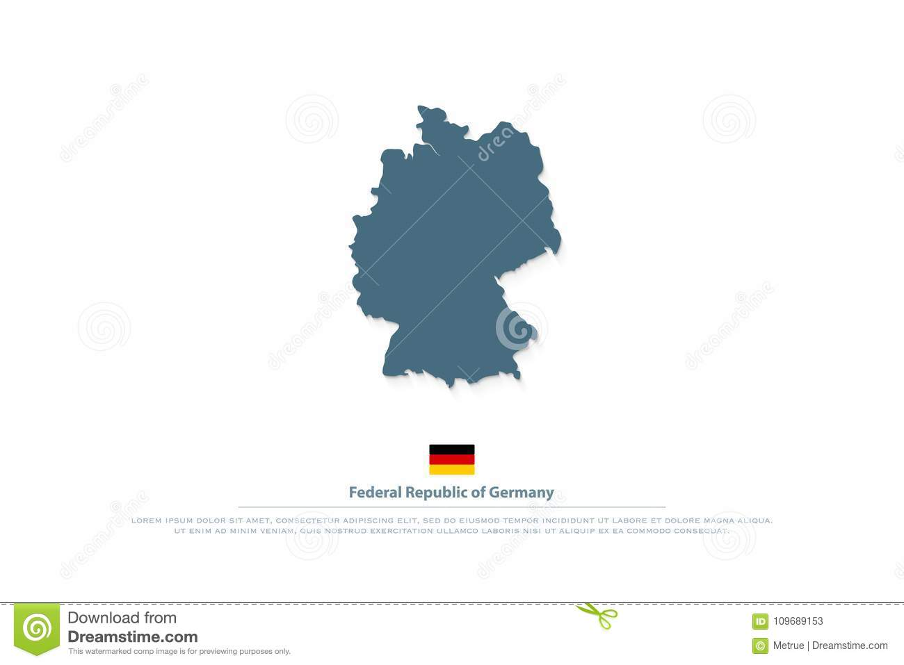 Federal Republic Of Germany Map And Official Flag Icon Stock Vector