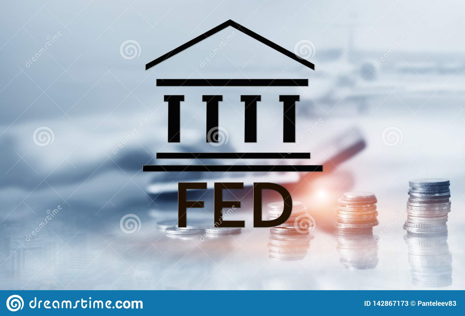 Federal Reserve System - FED. Banking Economy Concept. Double exposure background.
