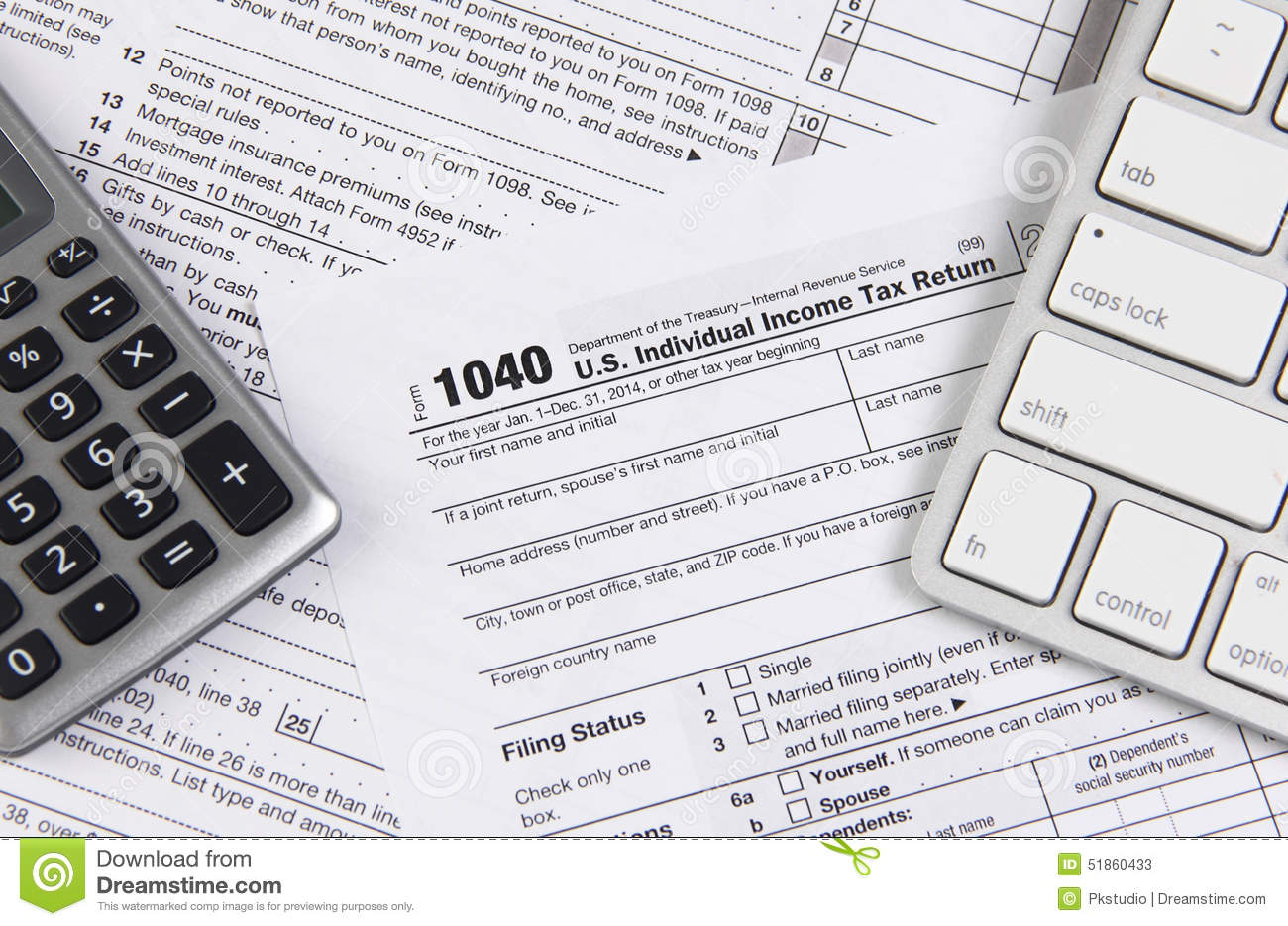 Federal Tax Form 1040 With Keyboard And Calculator Editorial Stock