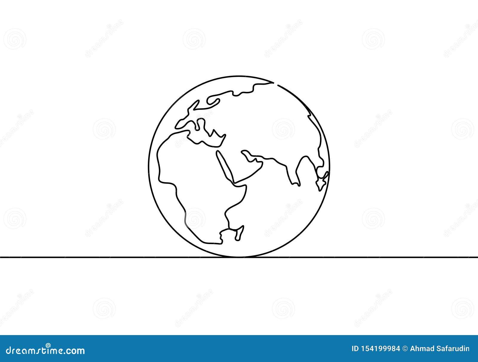 Federzeichnung der Erdkugel eine des unbedeutenden Entwurfs der Weltkartevektor-Illustration des Minimalismus lokalisiert auf wei