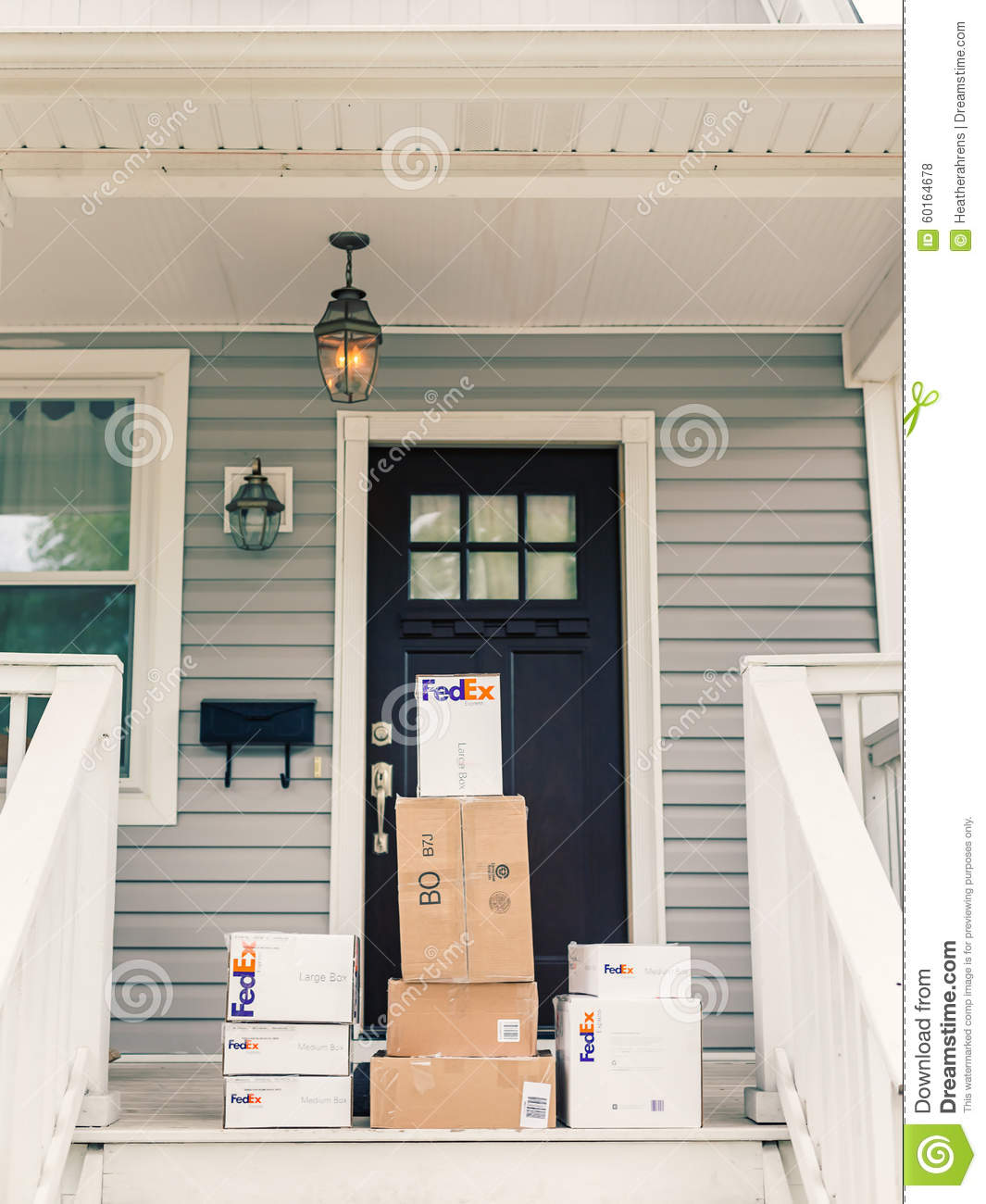 Fedex Boxes On Front Porch Editorial Stock Photo Image