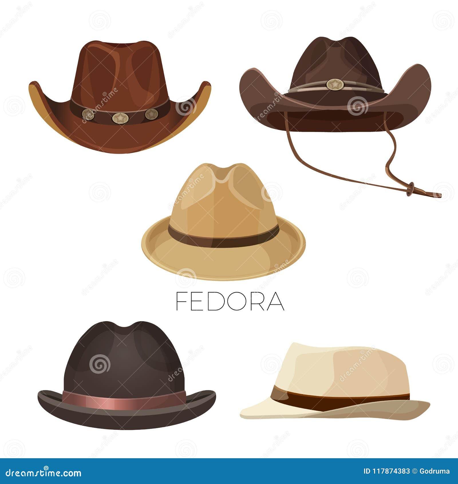Dell'insieme Cappelli Marrone E Di Fedora Da Cowboy Colori Beige q6pFIU