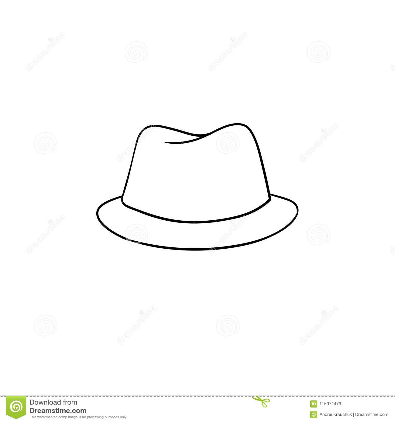 8c5a040deba Fedora hat hand drawn outline doodle icon. Accessory - classic trilby hat  vector sketch illustration for print