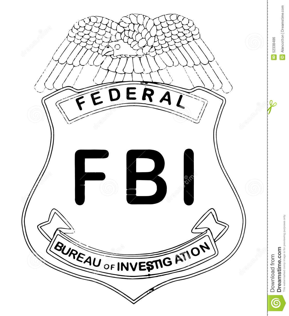 feds badge stock illustration image of investigation 52338486. Black Bedroom Furniture Sets. Home Design Ideas