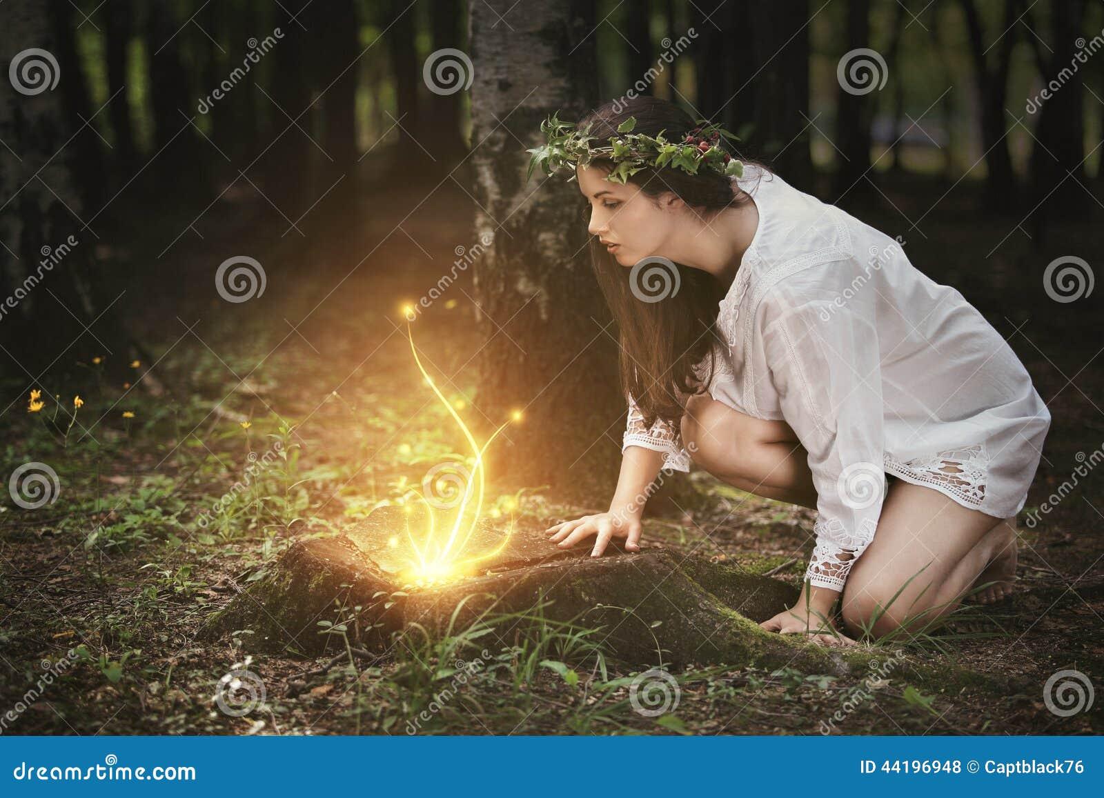 Feeënlichten in een magisch bos