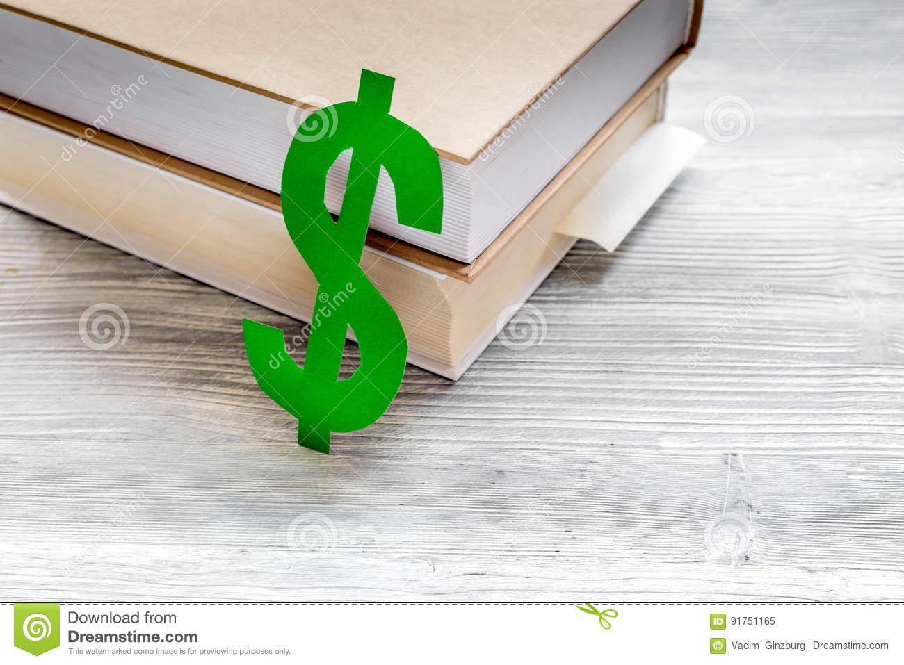 Fee-paying education set with dollar sign on white table top view