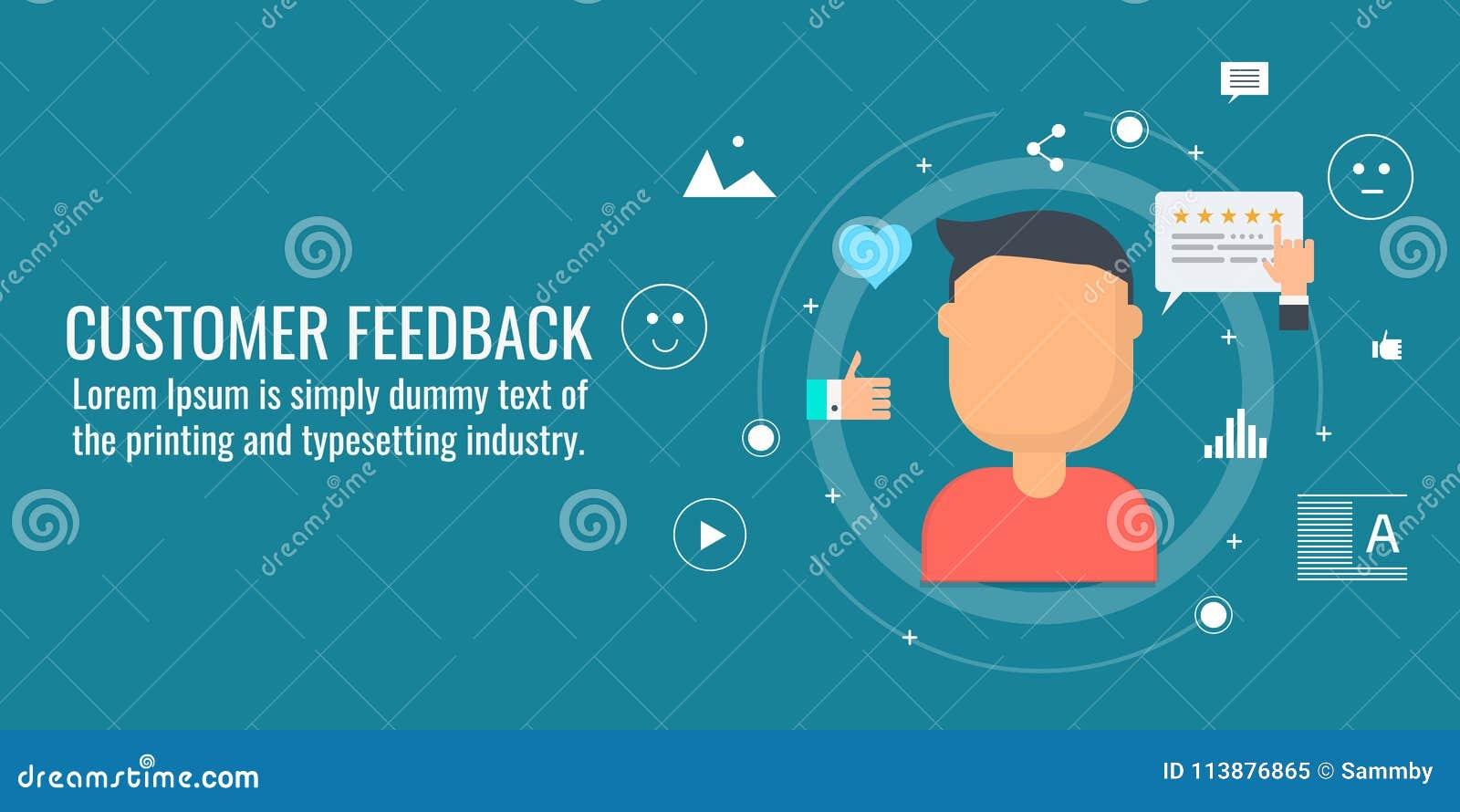 Feedback de cliente, revisões em linha, experiência do cliente, cliente feliz, conceito da avaliação Bandeira lisa do vetor do pr