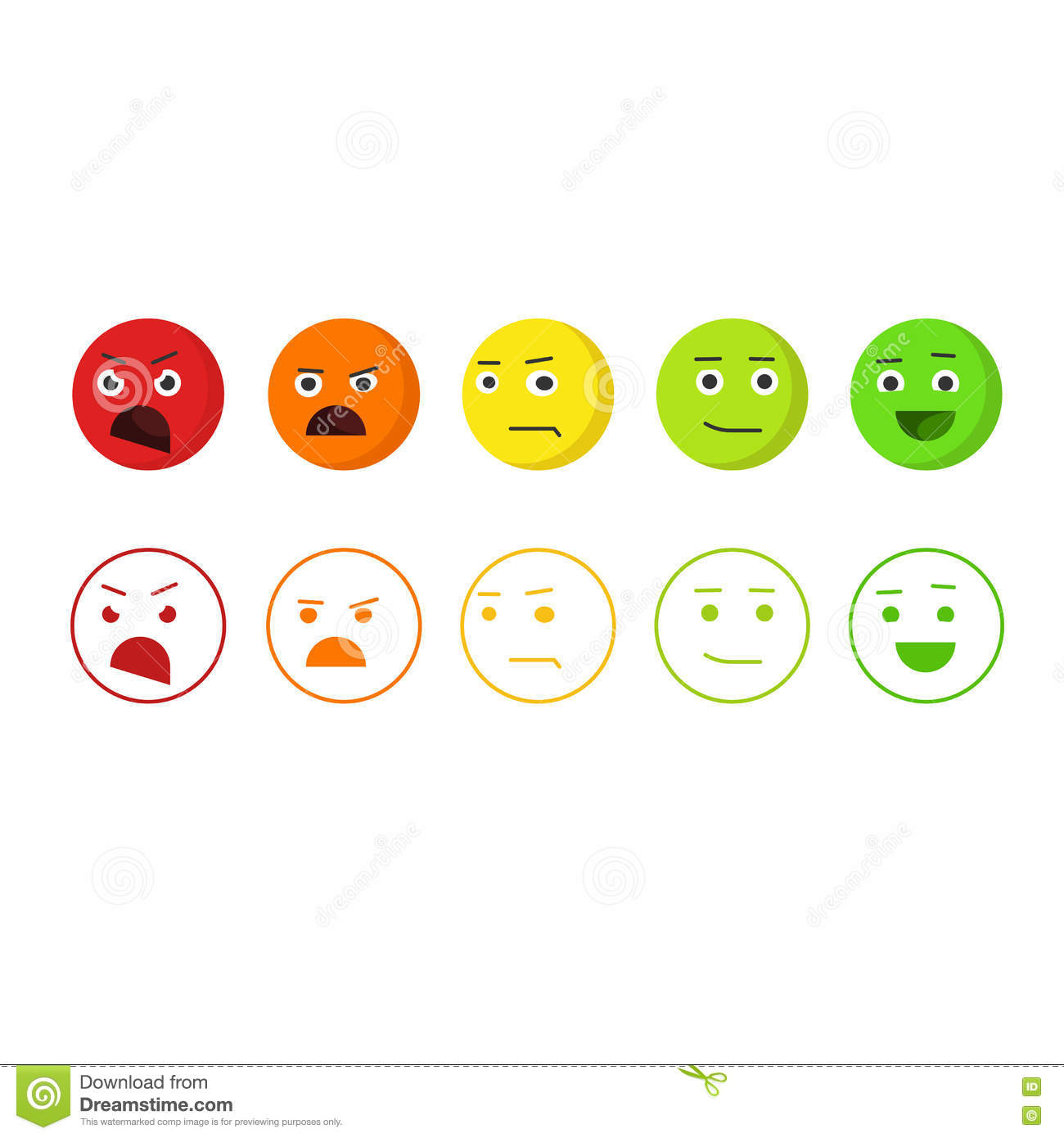 Stock Vector: Feedback emoticons vector icons, concept of satisfaction ...