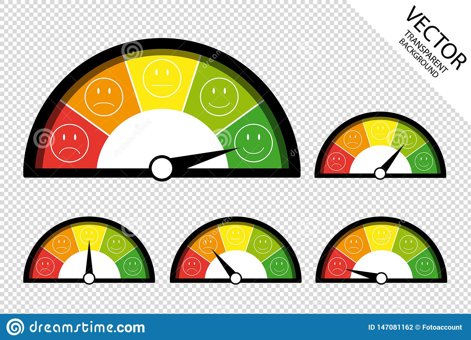 Feedback Speedometer, Customer Satisfaction Meter, Product Rating Icons - Vector Illustration Isolated On Transparent Background