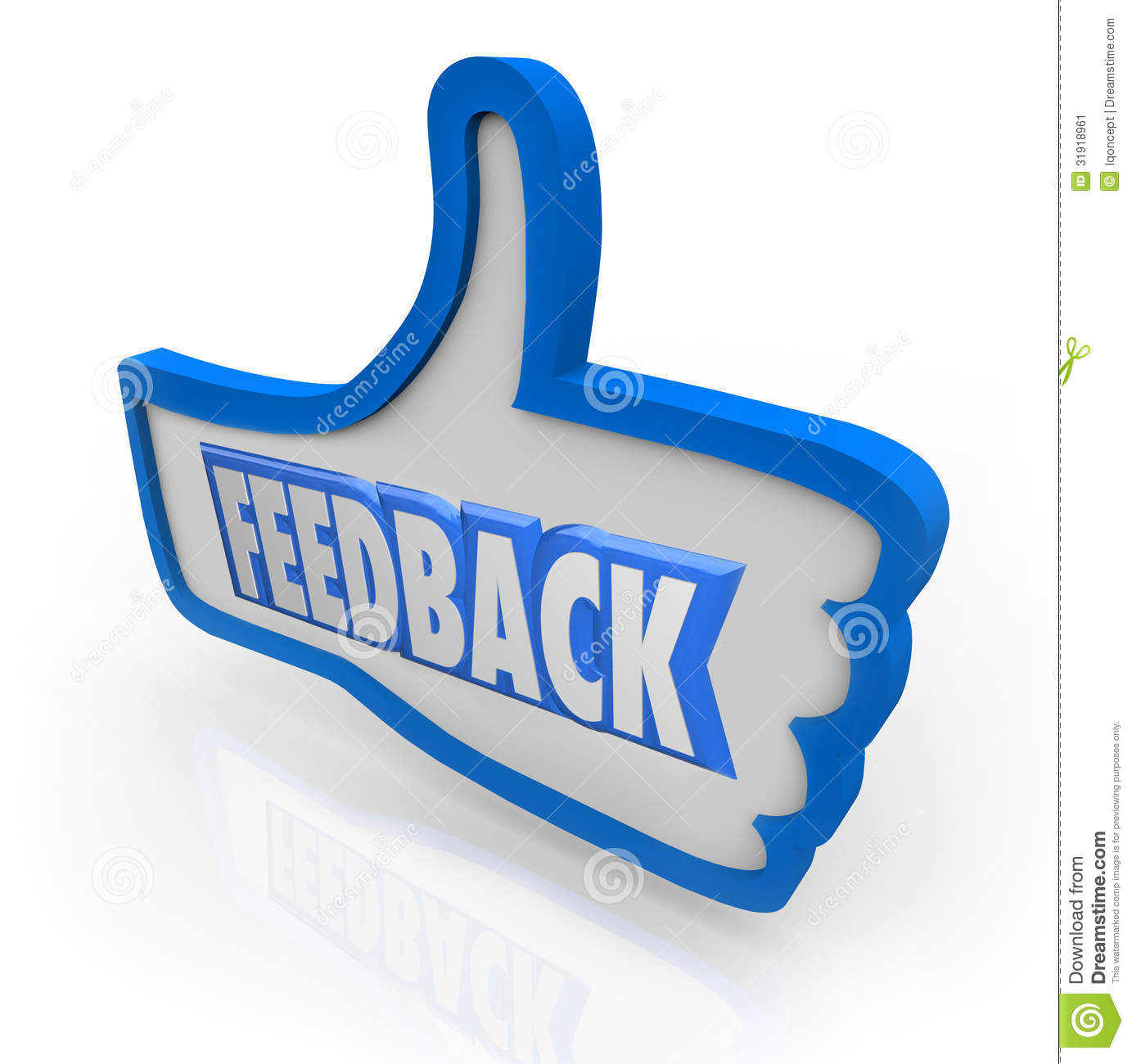 The word Feedback in a blue thumbs up indicating positive comments and ...