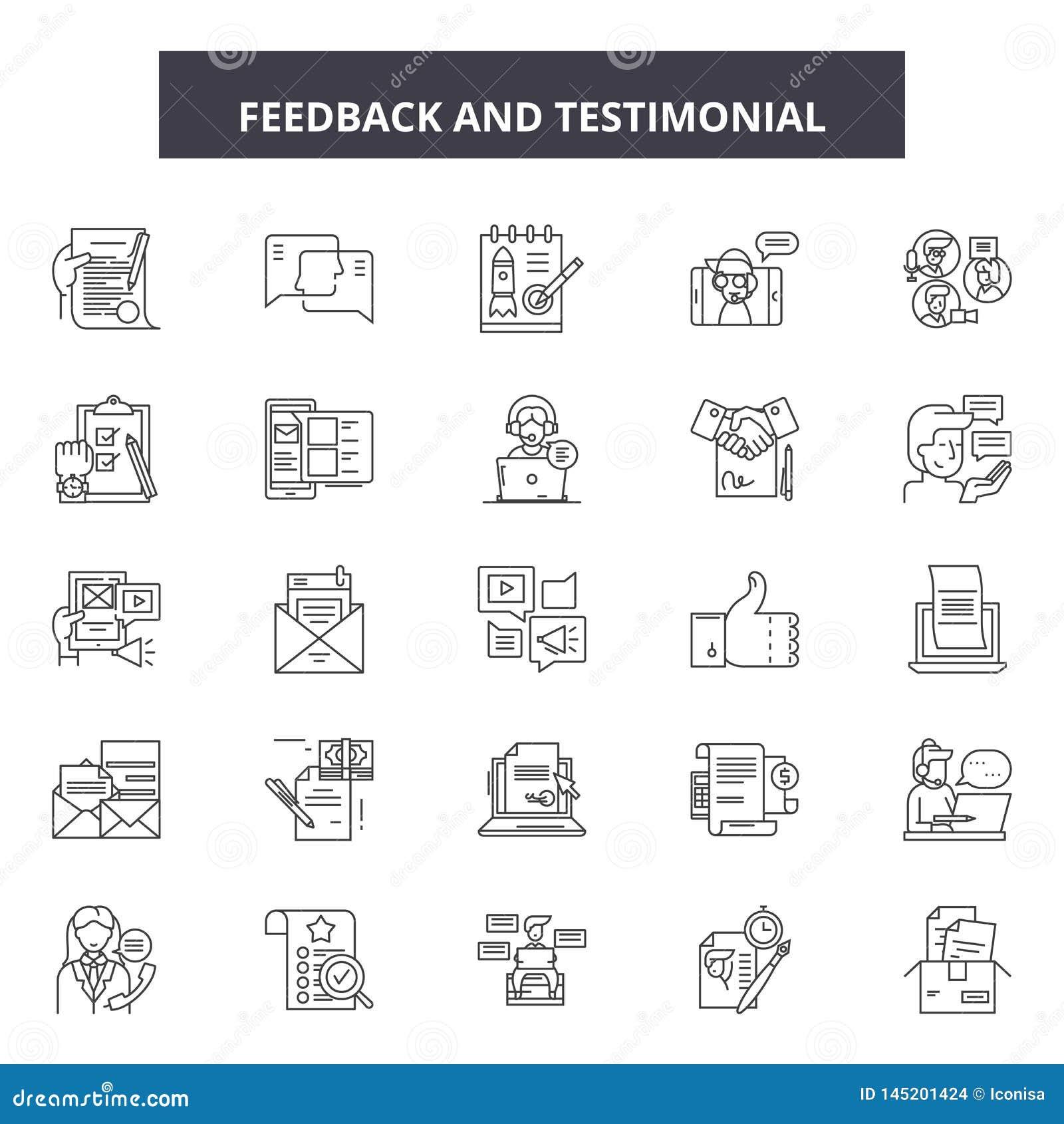 Feedbackhuldigungslinie Ikonen, Zeichen, Vektorsatz, Entwurfsillustrationskonzept