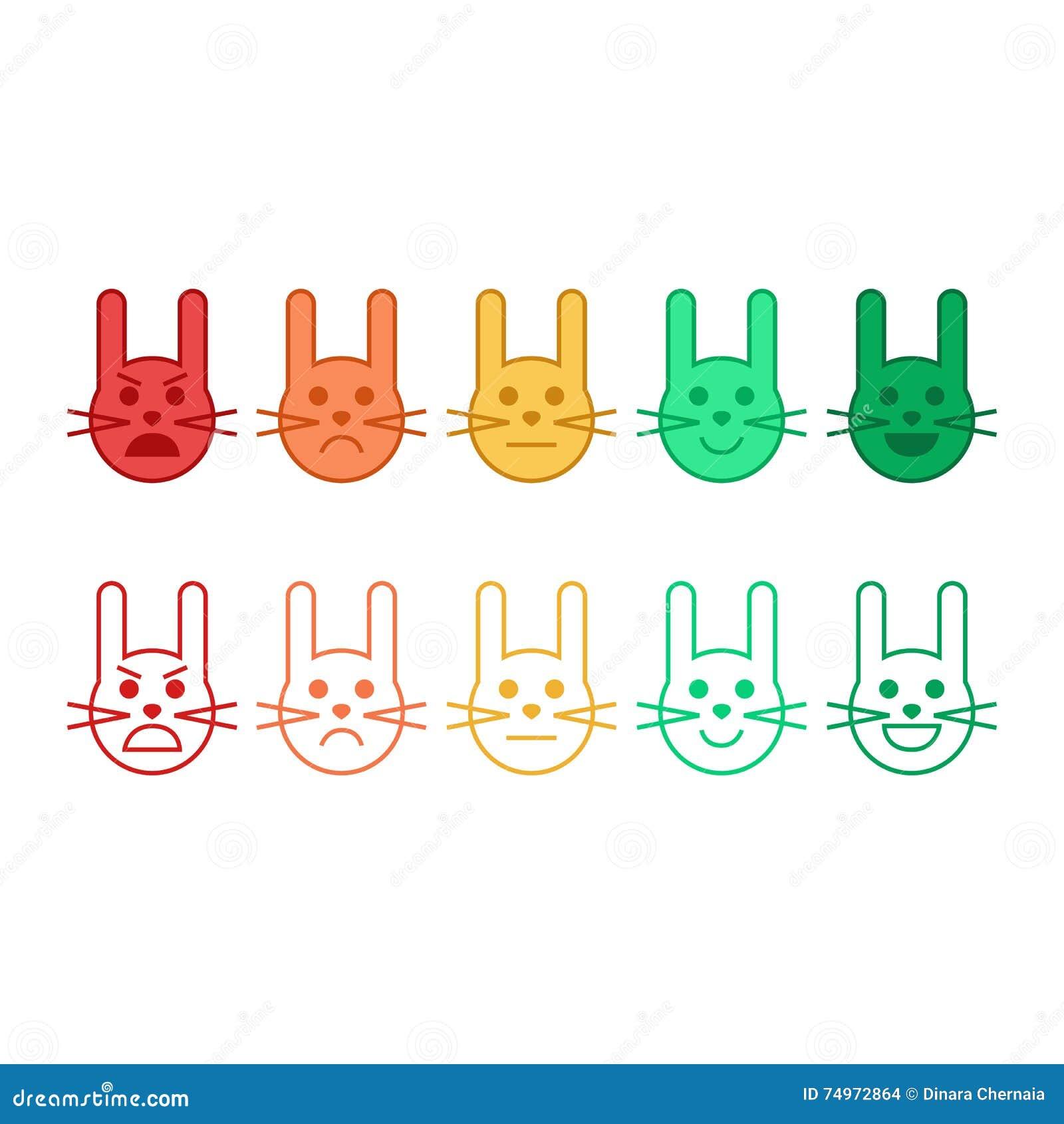 Feedbackvektorkonzept-Kaninchengesicht Feedback in der Form von Gefühlen, smiley, emoji Kundenfeedback