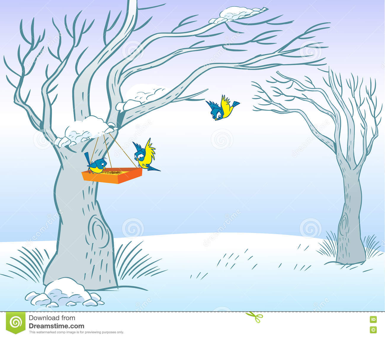 feeder for birds in winter stock vector. illustration of vector