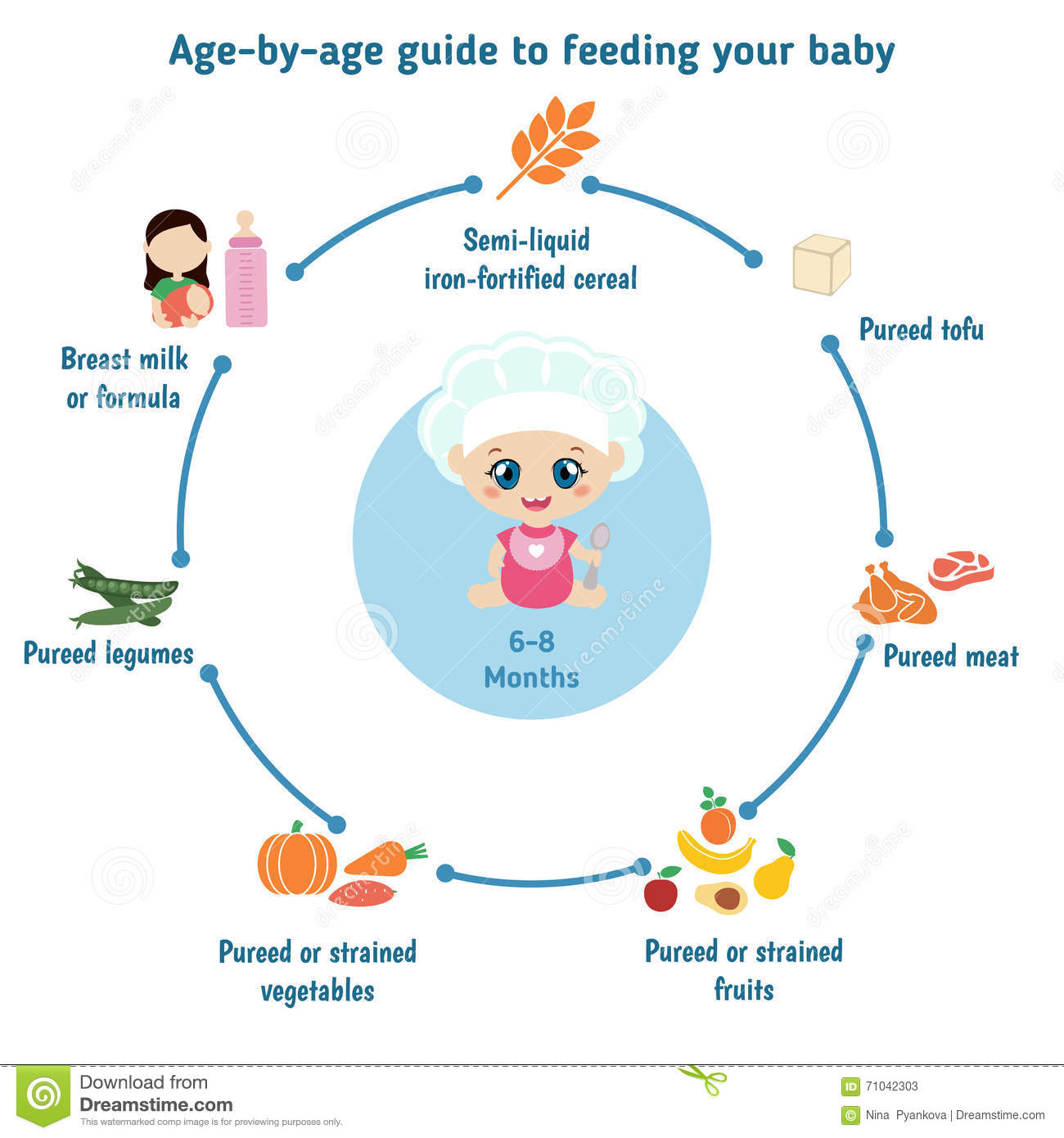 feeding baby infographics stock vector illustration of breast rh dreamstime com Clothing Guide for Baby Newborn Newborn Baby Feeding Guide