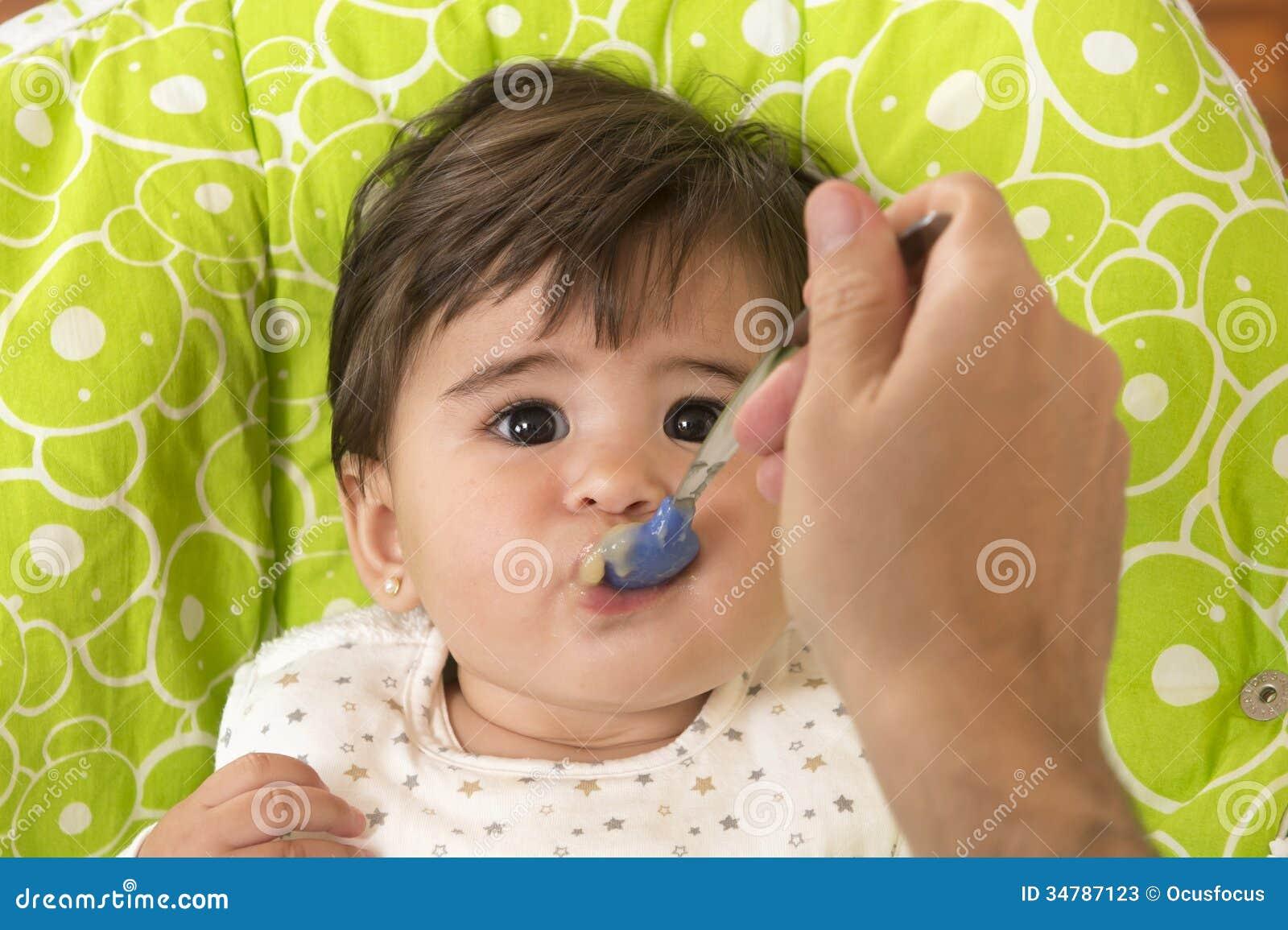 Feeding A Cute Lovely Baby Girl Stock Image Image Of Eyes