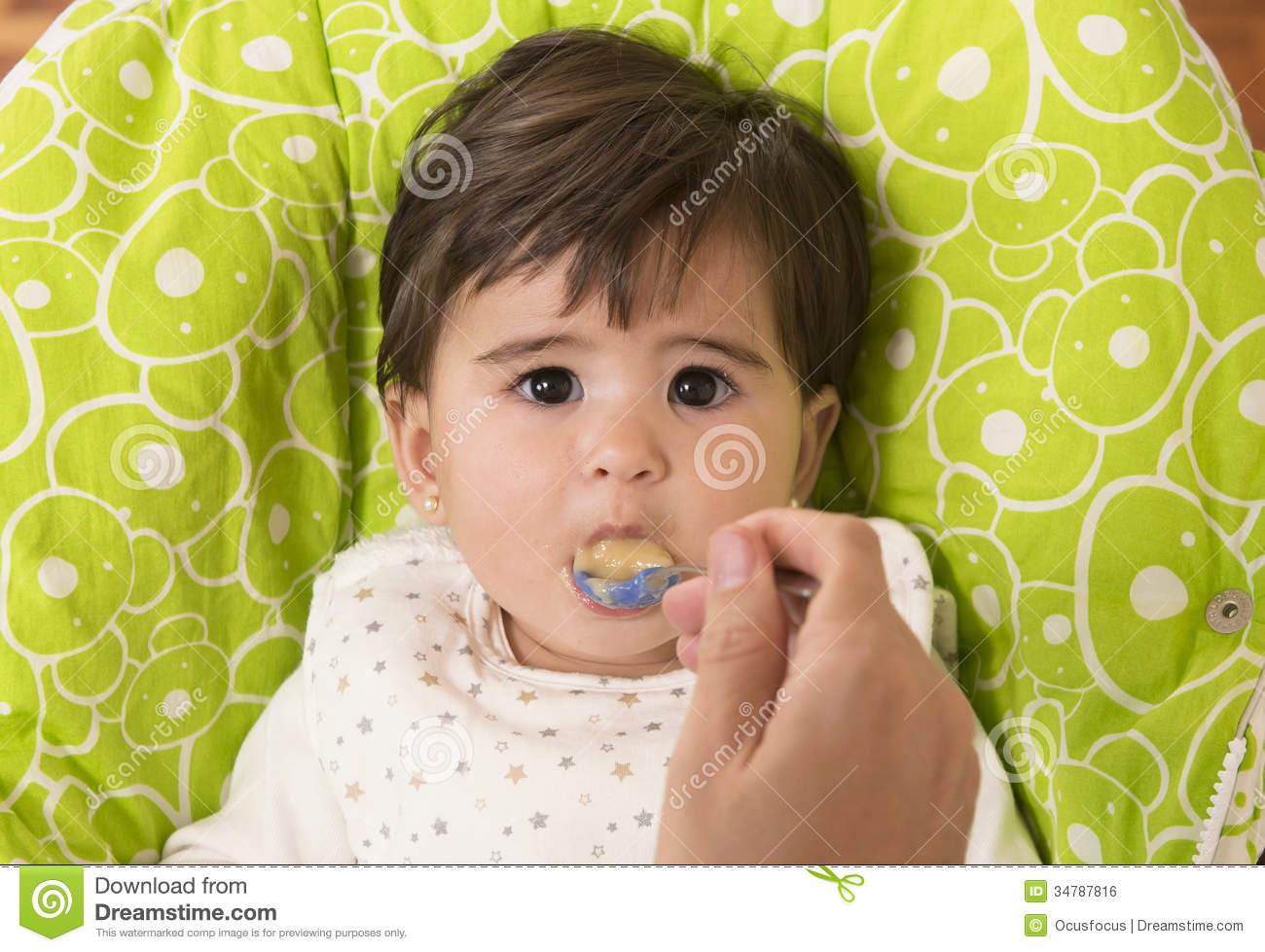 Feeding A Cute Lovely Baby Girl Stock Photo Image Of Care