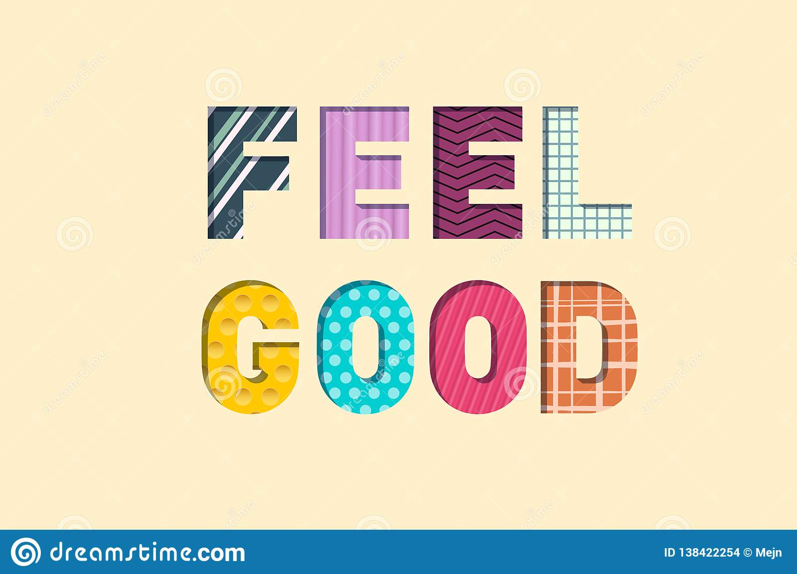 Feel Good Paper Cut Letters  Feeling Well Concept  Stock Vector