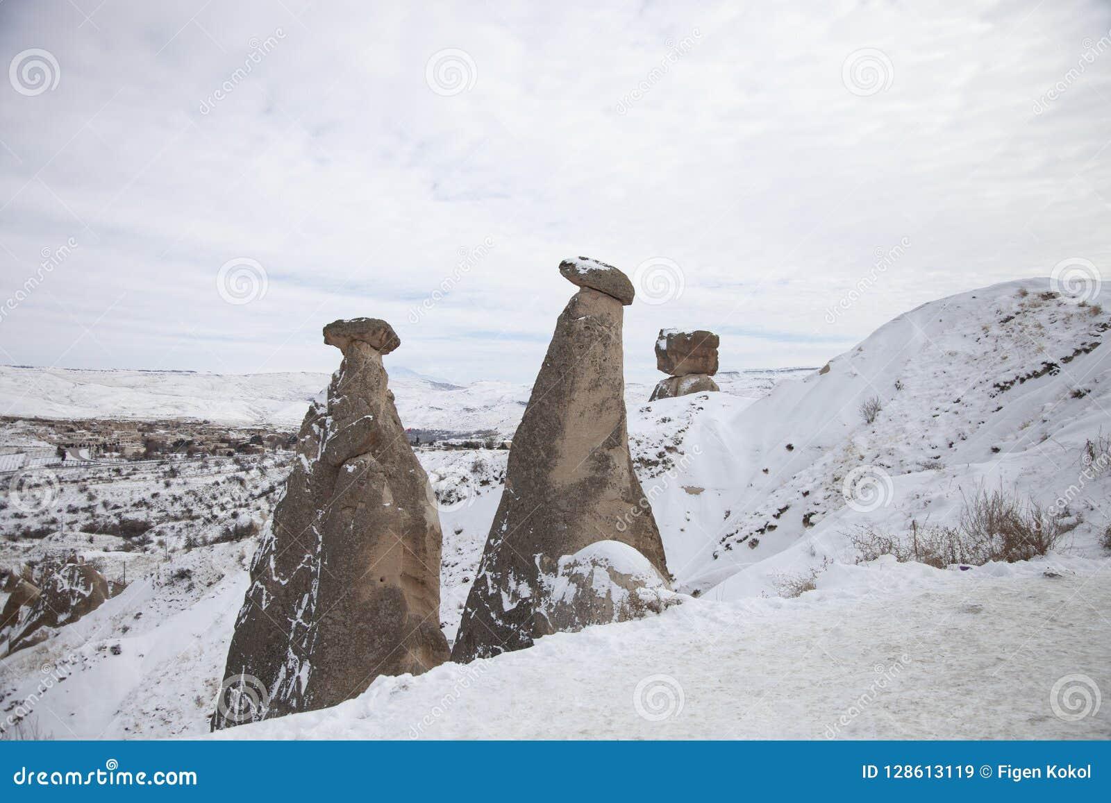 Feeschoorsteen dichtbij Urgup in Cappadocia, Turkije