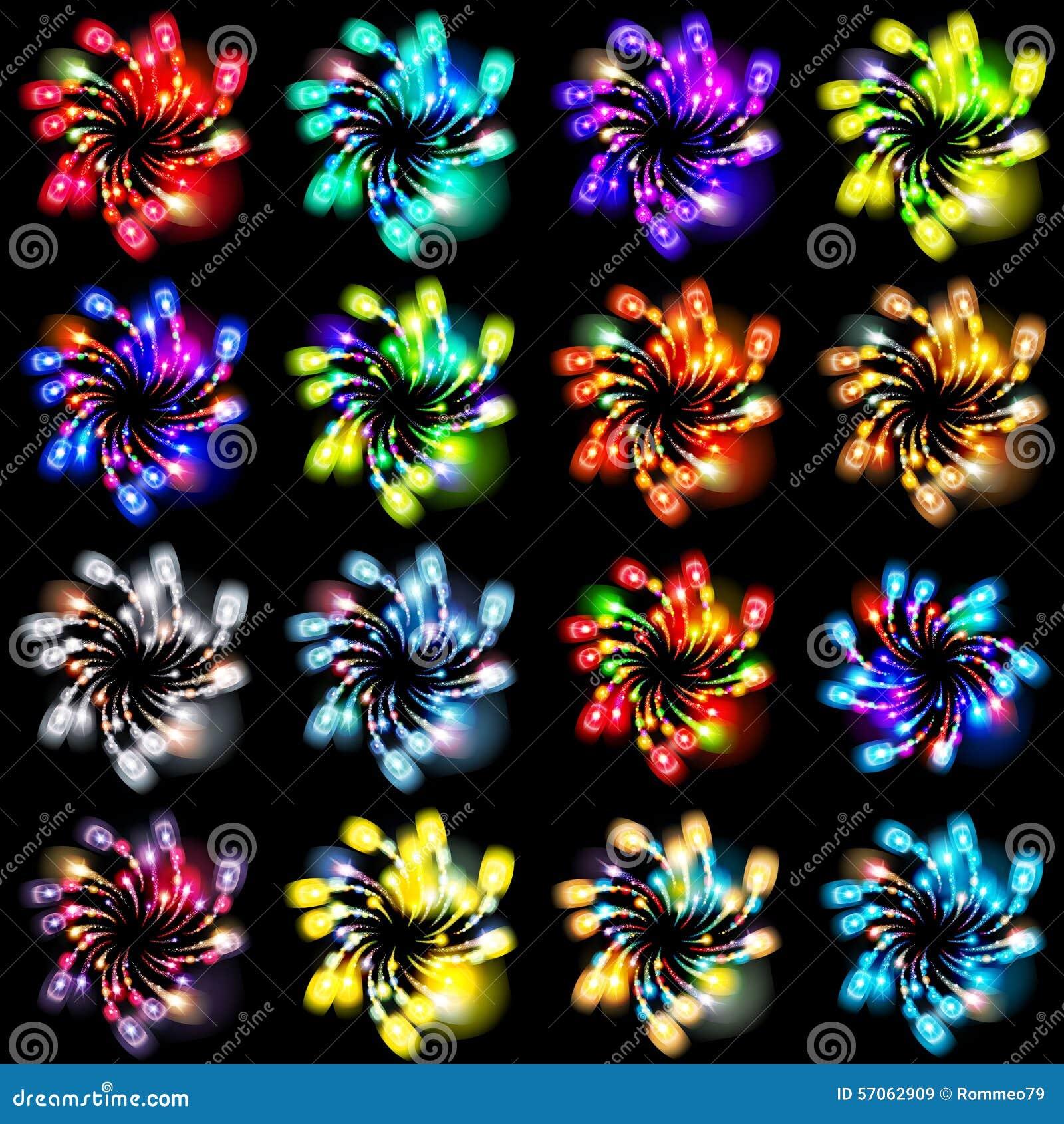 Feestelijk gevormd vuurwerk die in diverse vormen fonkelende pictogrammen barsten