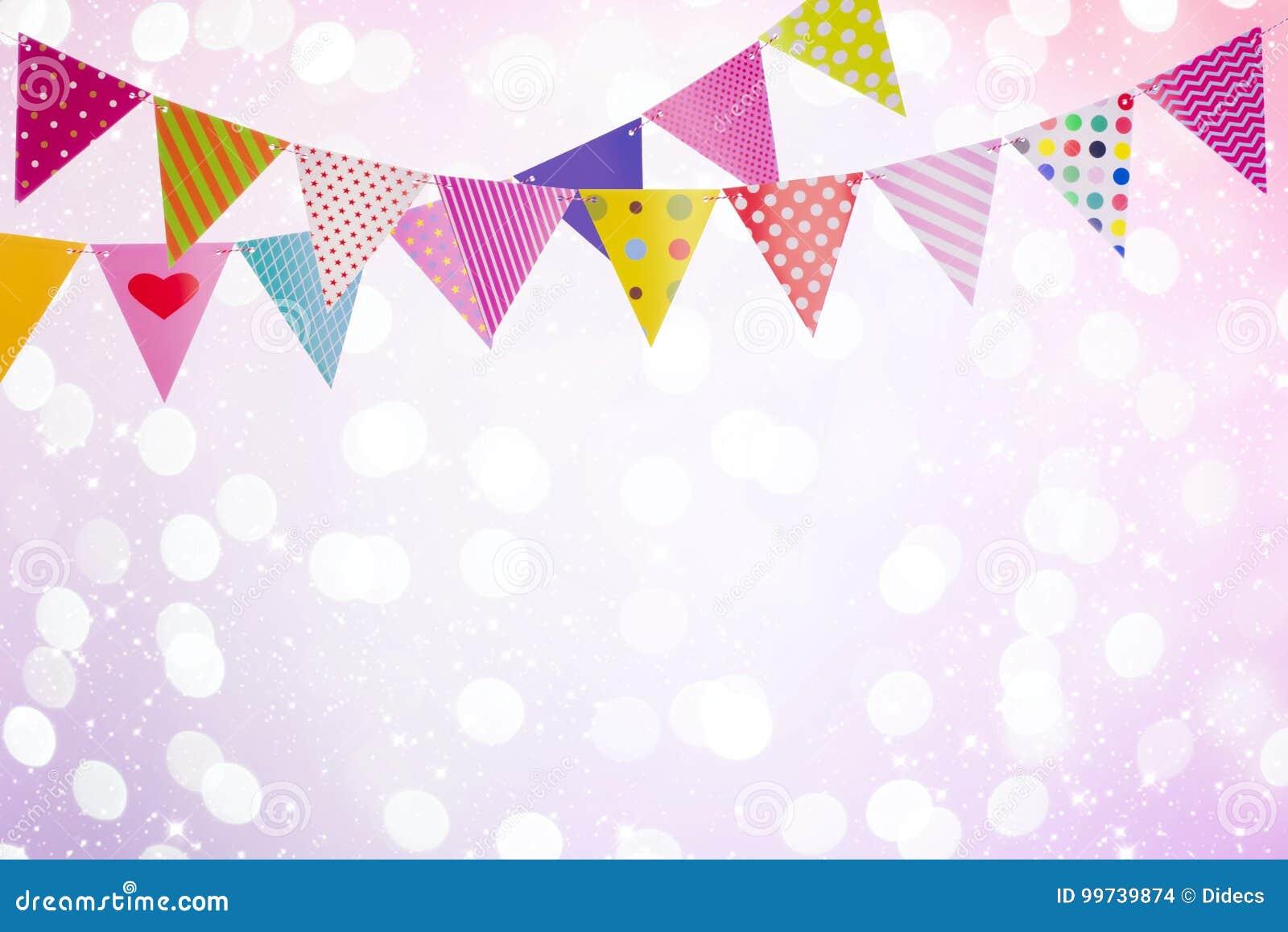 Feestelijke achtergrond met kleurrijke vlaggen over abstracte lichten en gloed