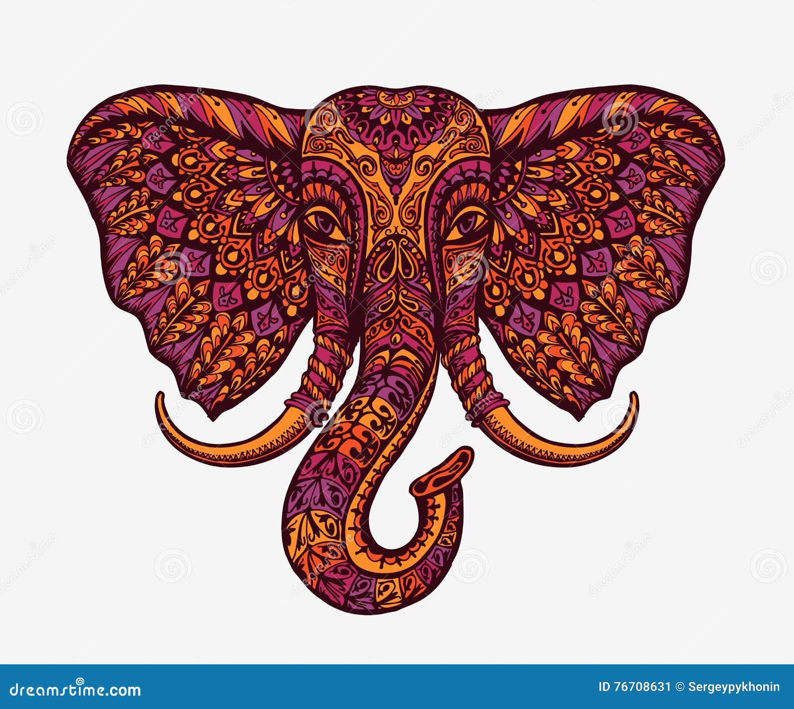 Feestelijke Indische olifant Etnische patronen Vector illustratie
