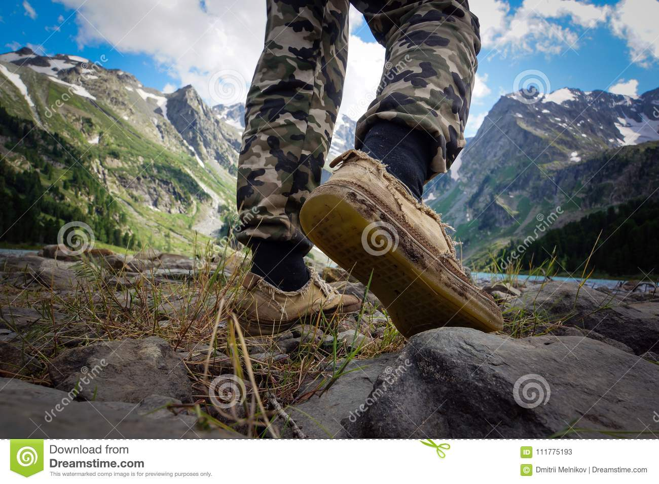 Feet boots hiking Traveler alone outdoor
