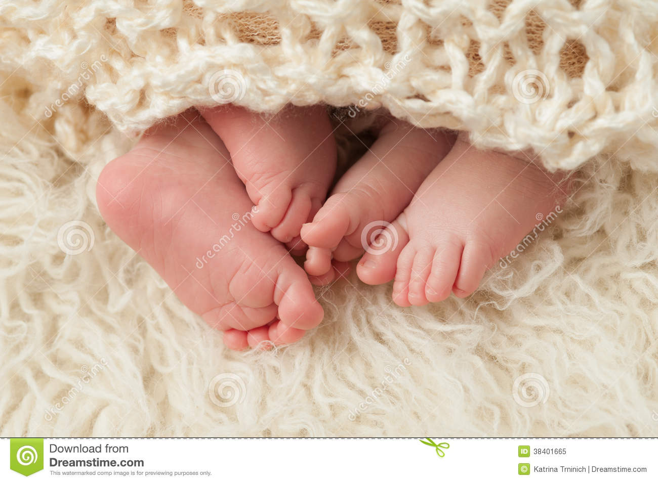 Feet Of Newborn Baby Twins Stock Image Image Of Sheepskin