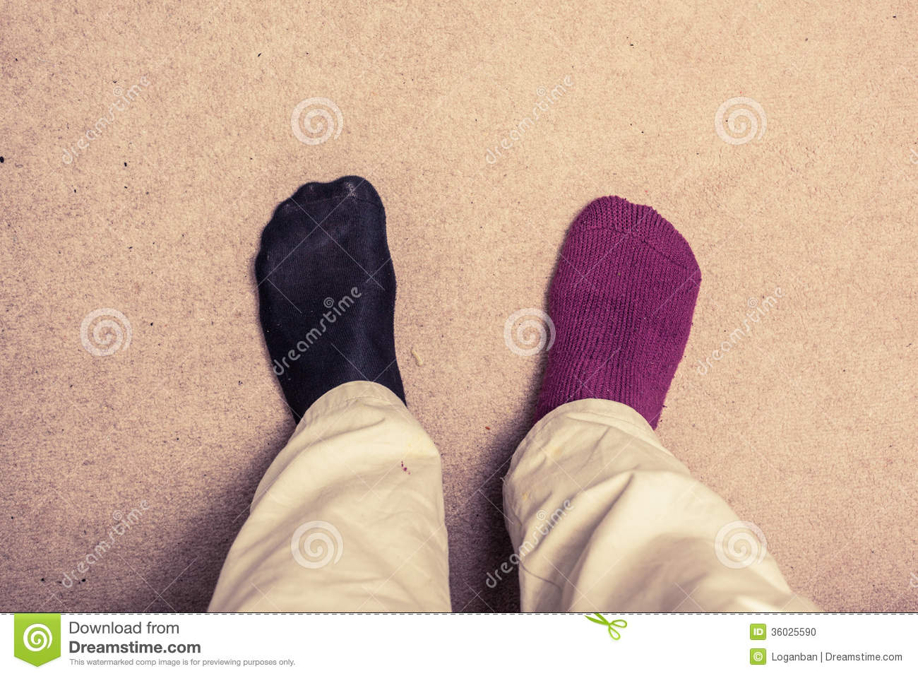 Feet With Odd Socks On Carpet Stock Photo Image 36025590
