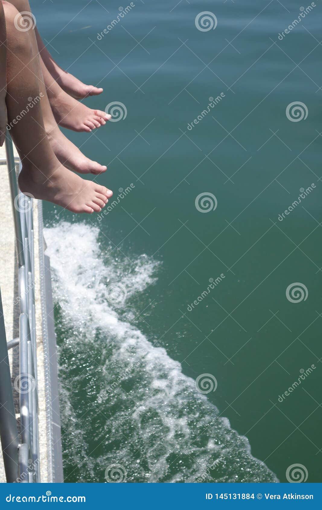 Feet off a boat