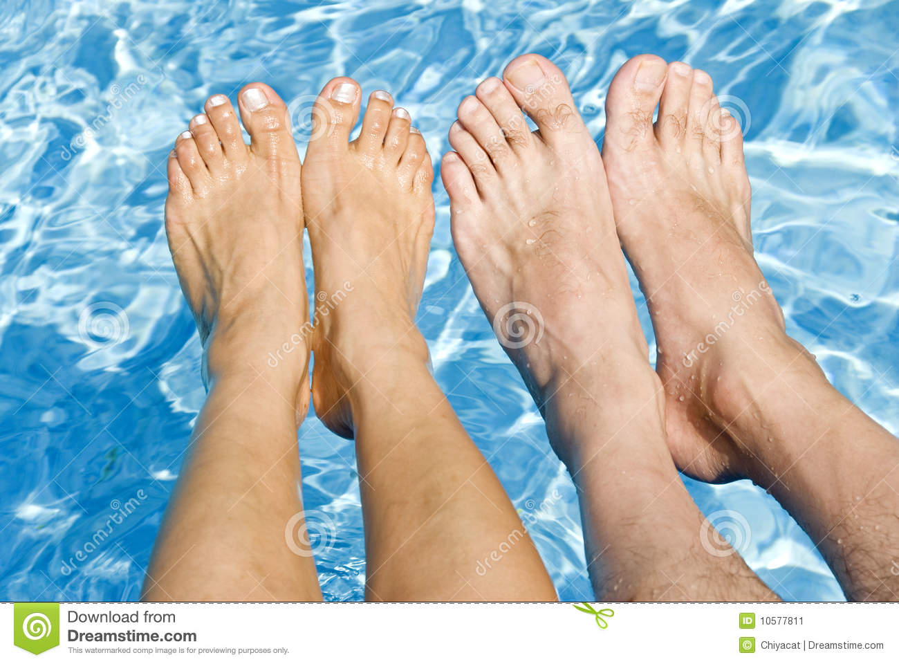 Feet Over The Swimming Pool Stock Image Image Of Toes Humorous 10577811